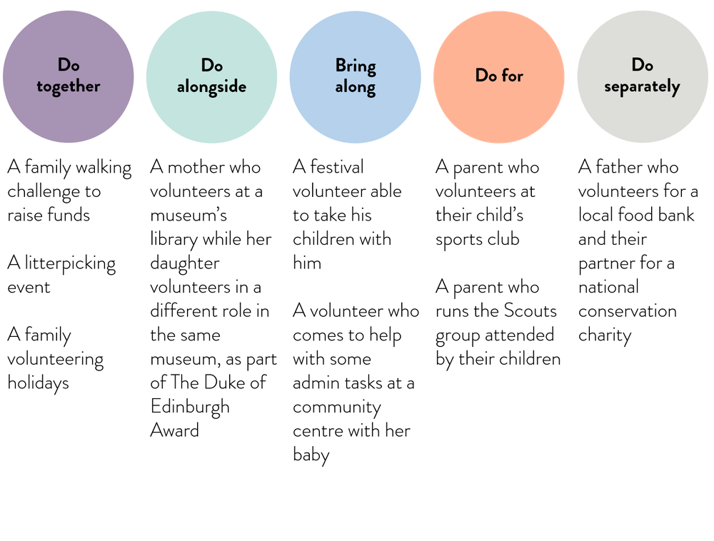Examples of types of family volunteering