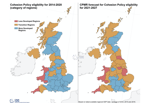 Maps of UK showing cohesion policy eligibility for 2014-2020